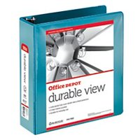 Office Depot Nonstick Round-Ring View Binder, 3in. Rings, 100% Recycled, Jeweler Blue, OD06622