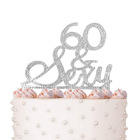 Rhinestone Crystal Cake Topper Silver, Gold Numbers, Letters, Bling Love, Wedding, Birthday, Anniversary,Sparkles, Shine, Party Decorations Supplies (60 & Sexy (silver)) - Sixty Birthday Decorations