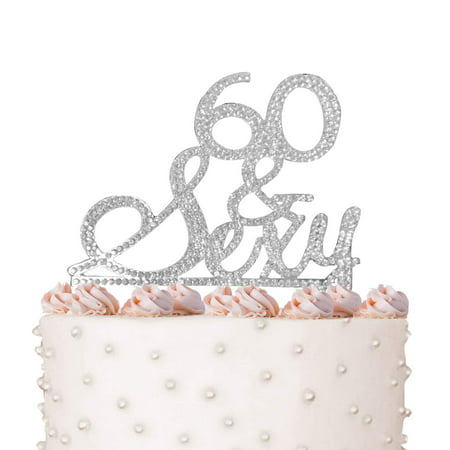 Rhinestone Crystal Cake Topper Silver, Gold Numbers, Letters, Bling Love, Wedding, Birthday, Anniversary,Sparkles, Shine, Party Decorations Supplies (60 & Sexy (silver)) - 60 Party Decorations
