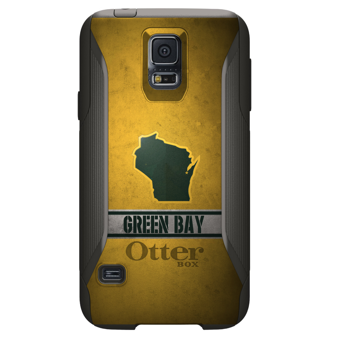 DistinctInk™ Custom Black OtterBox Commuter Series Case for Samsung Galaxy S5 - Green Bay Wisconsin