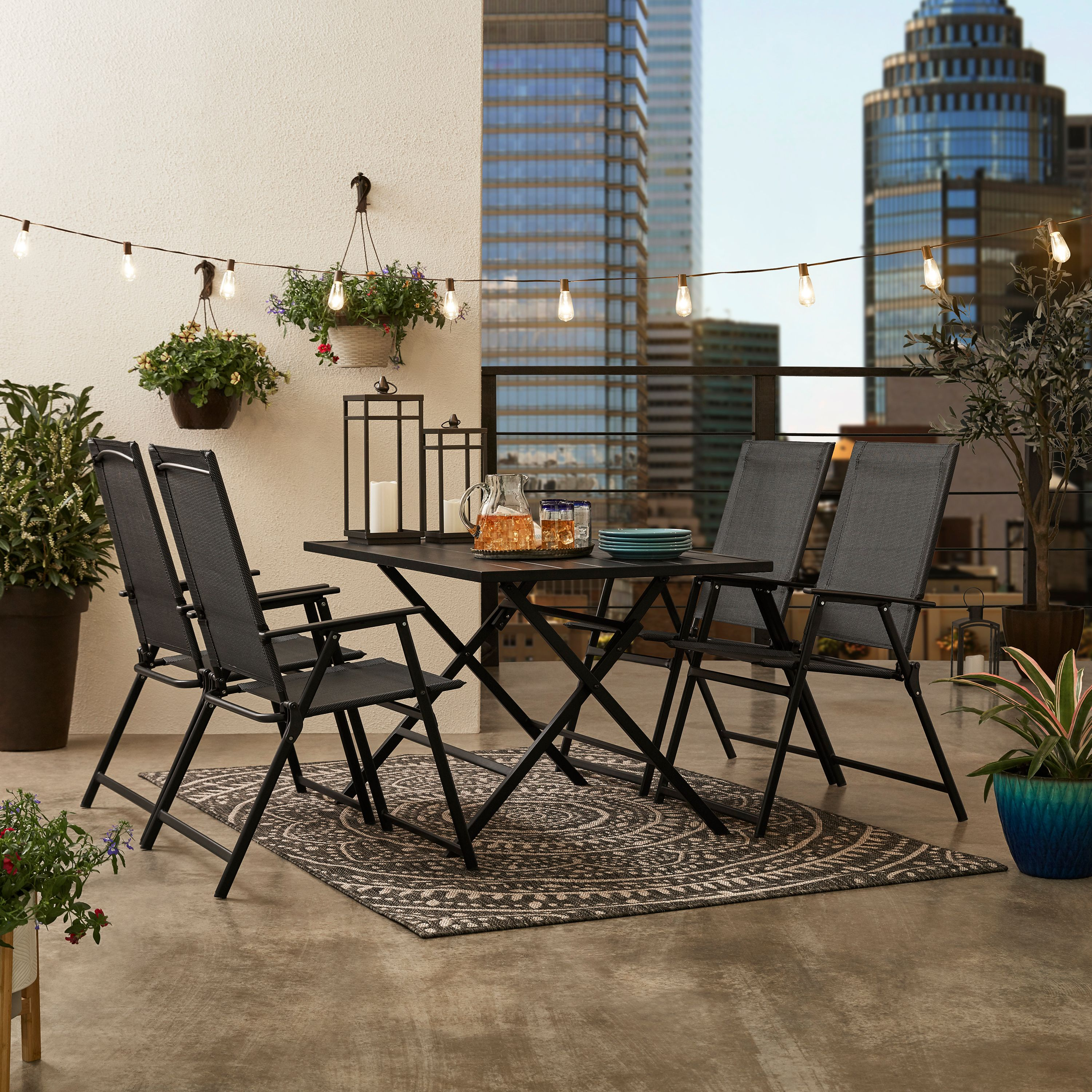 Mainstays Greyson Square Patio 5 Piece Folding Dining Set Included 4 Chairs And 1 Table Black Walmart Com Walmart Com