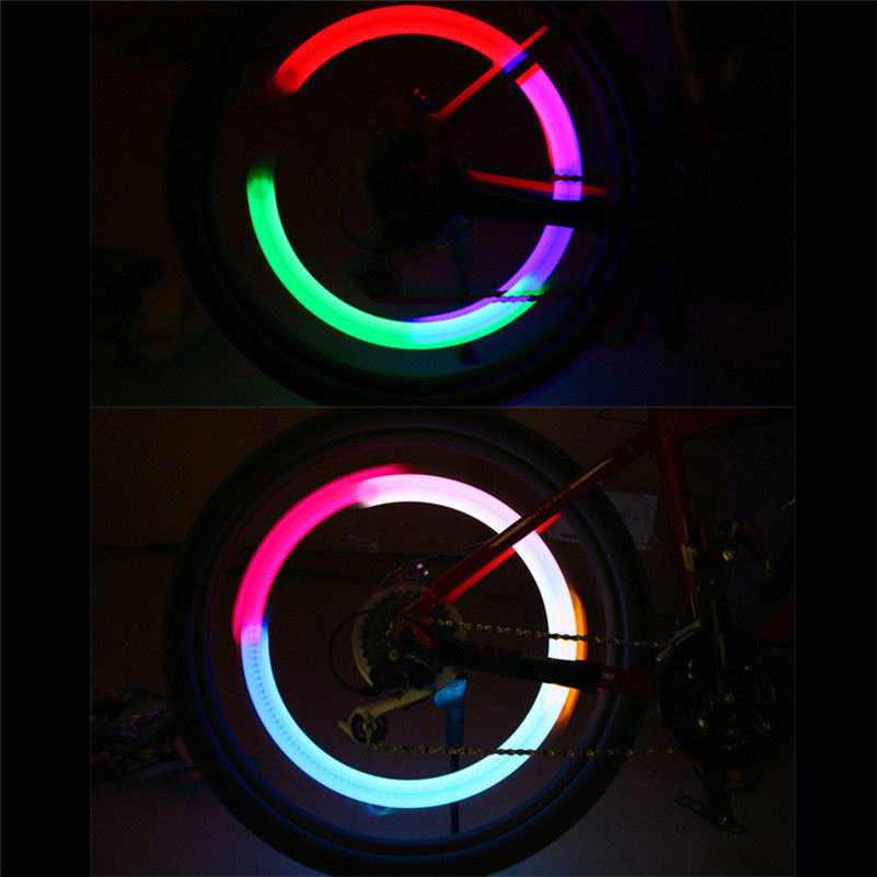Bike Car Motorcycle Wheel Tire Tyre Valve Cap Flash Night LED Light Spoke Lamp