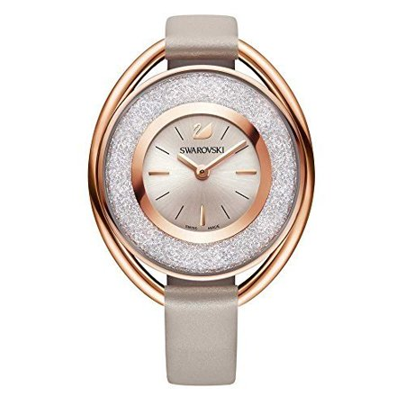 Gold Tone Floating Crystal Watch - Ladies' Crystal Crystalline Oval Rose Gold Tone Watch 5158544