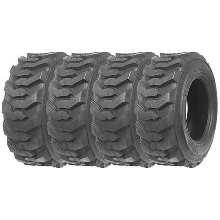 Set of 4 New ZEEMAX Heavy Duty 10-16.5/10PR Skid Steer Tires for Bobcat w/ Rim Guard