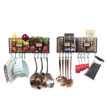 Multi-Purpose Wall Mountable Hanging Kitchen Organizer Rack Durable Steel with 20 Hooks - Black - Set of 2