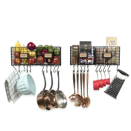 - Multi-Purpose Wall Mountable Hanging Kitchen Organizer Rack Durable Steel with 20 Hooks - Black - Set of 2