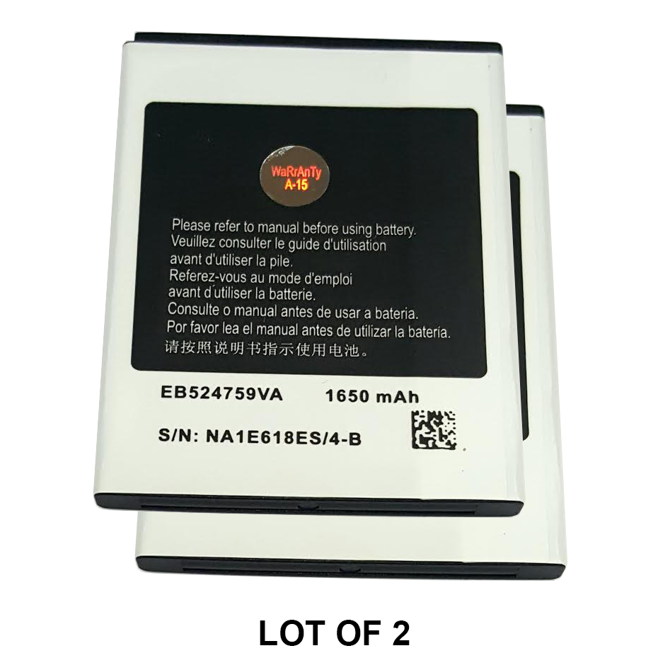 World Star™ Standard Replacement 2x Battery EB524759VA / VU / VZ 1650mAh for Samsung Focus S i937 / Galaxy Attain 4G R920 / Rugby Smart i847 in Non-Retail Pack with 2-Year Limited Warranty