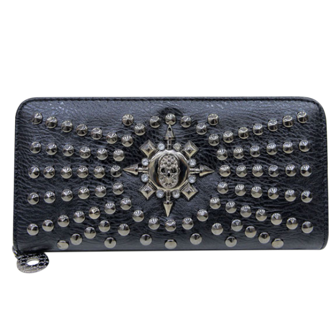 Fashion Rivet Skull Handbag Long Wallet Women Phone Case Clutch with Chain - Black
