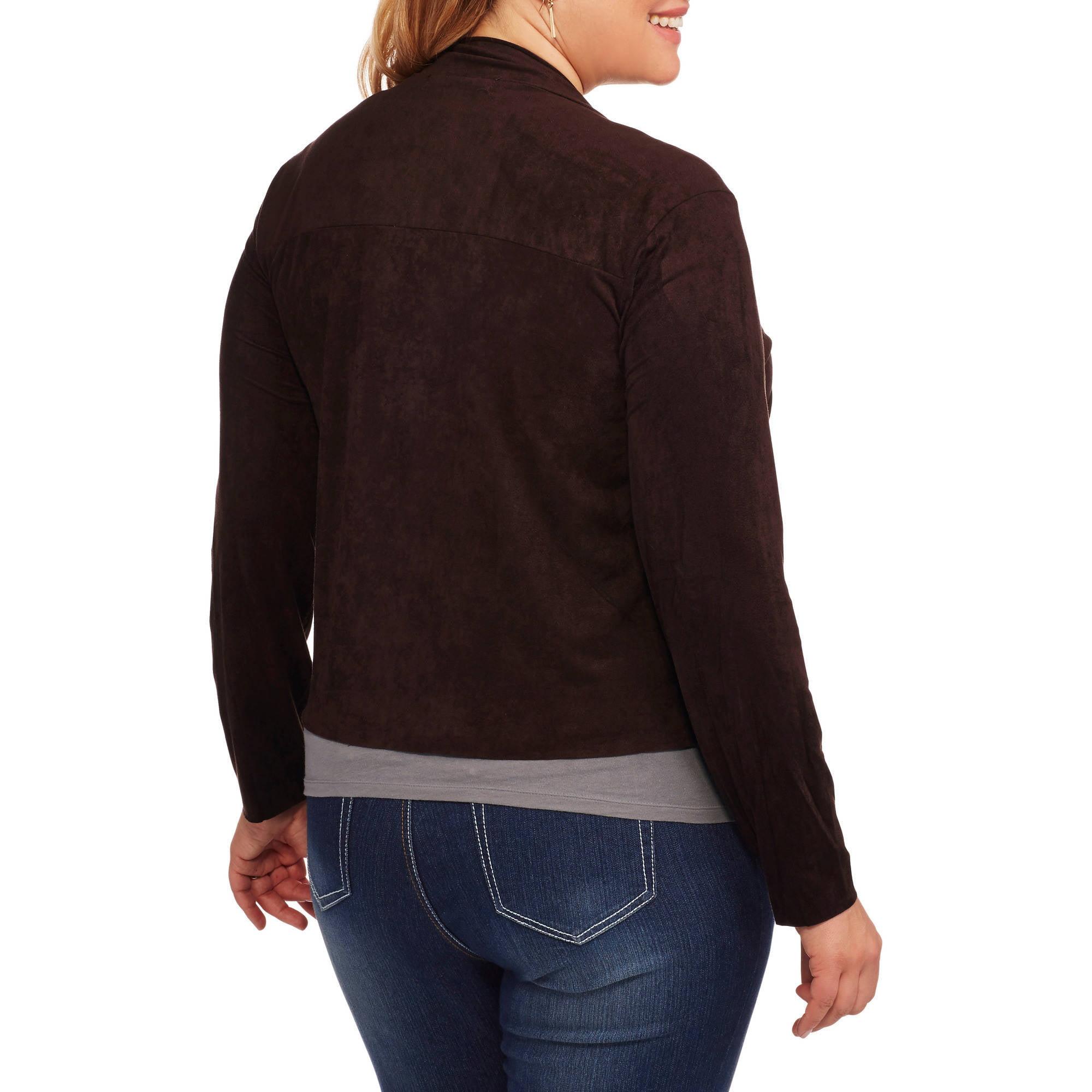237218f3bfa French Laundry - Women s Plus Faux Suede Flyaway Jacket - Walmart.com