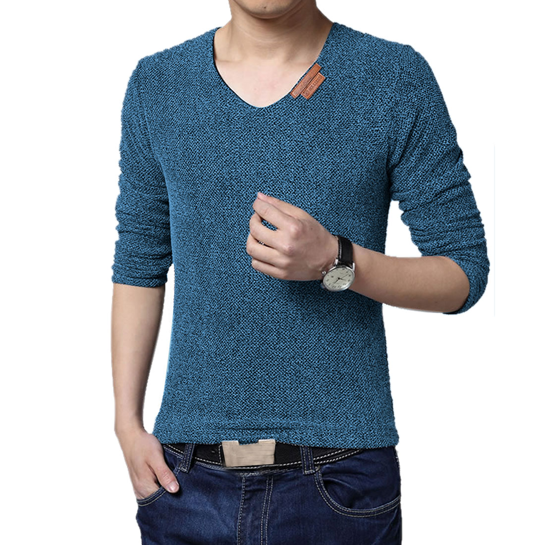 Back to College Gifts & Accessories | Azzuro Men's Long Sleeve Knitted Panel Fleece Lined T-Shirt (Size M / 38)