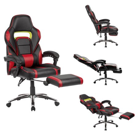LANGRIA Ergonomic High-Back Faux Leather Racing Style Reclining Computer Gaming Executive Office Chair with Padded Footrest and Lumber Cushion,Adjustable Seat Height,360 Degree