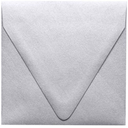 5 x 5 Square Contour Flap Envelopes - Crystal White Metallic (250 Qty.)