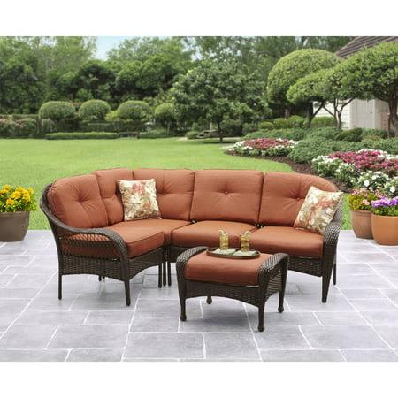 Better Homes And Gardens Azalea Ridge 5 Piece Outdoor Sectional Sofa Set Brown Vermillion Box