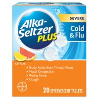 Alka-Seltzer Plus Severe Cold & Flu, Citrus Effervescent Tablet, 20ct