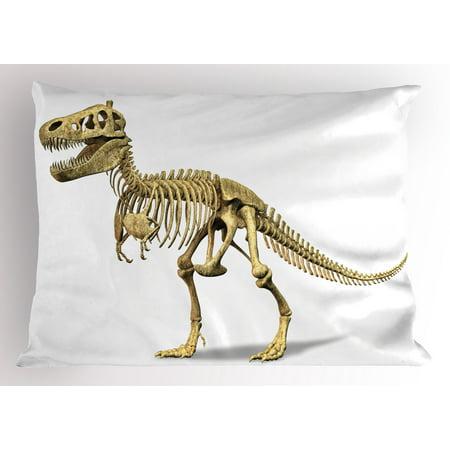 Dinosaur Pillow Sham Primeval Wildlife Concept Fossil Animal Skeleton Paleontology Predator Creature, Decorative Standard Size Printed Pillowcase, 26 X 20 Inches, Ivory White, by Ambesonne