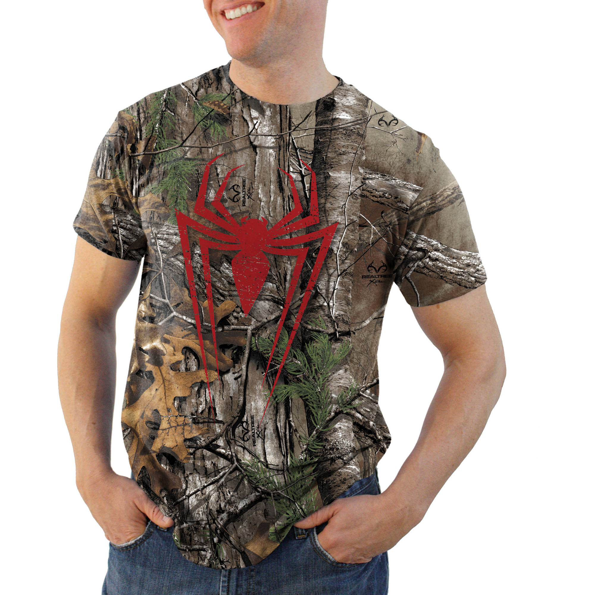 Spiderman Color Icon Realtree Camo Men's Graphic Tee