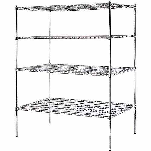 "Muscle Rack 4-Shelf 60""W x 74""H x 36""D Heavy Duty Chrome Wire Shelving Unit"