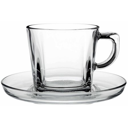 Pasabahce 95307 7 Oz Tea Coffee Cup With Saucer Clear Gl