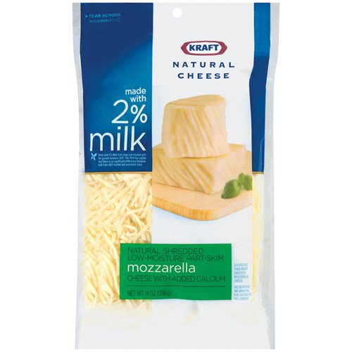 Kraft Natural Cheese Made With 2% Milk Shredded Reduced Fat Mozzarella Cheese, 14 oz