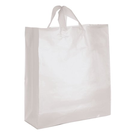 Jumbo Clear Frosted Plastic Shopping Bags - Case of 25 - Plastic Bags With Handles