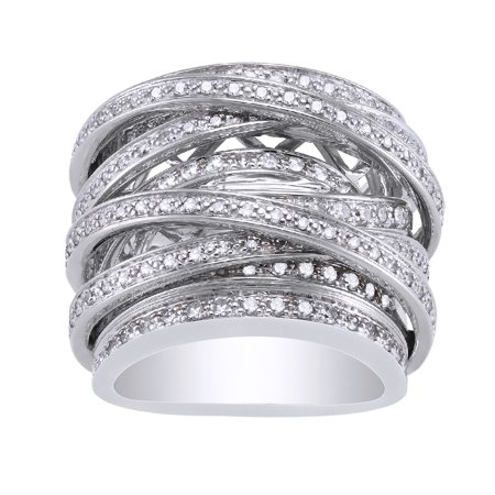 - 10kt White Gold 1-1/2 carats TDW Diamond Crossover Ring