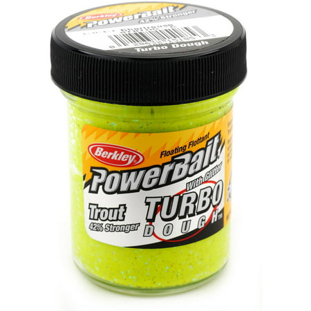 Berkley PowerBait Turbo Dough 1.75 oz Glitter Trout Floating Bait, Chartreuse