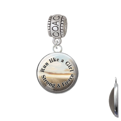 Domed Run Like a Girl - Strong and Fierce - Coach Charm Bead