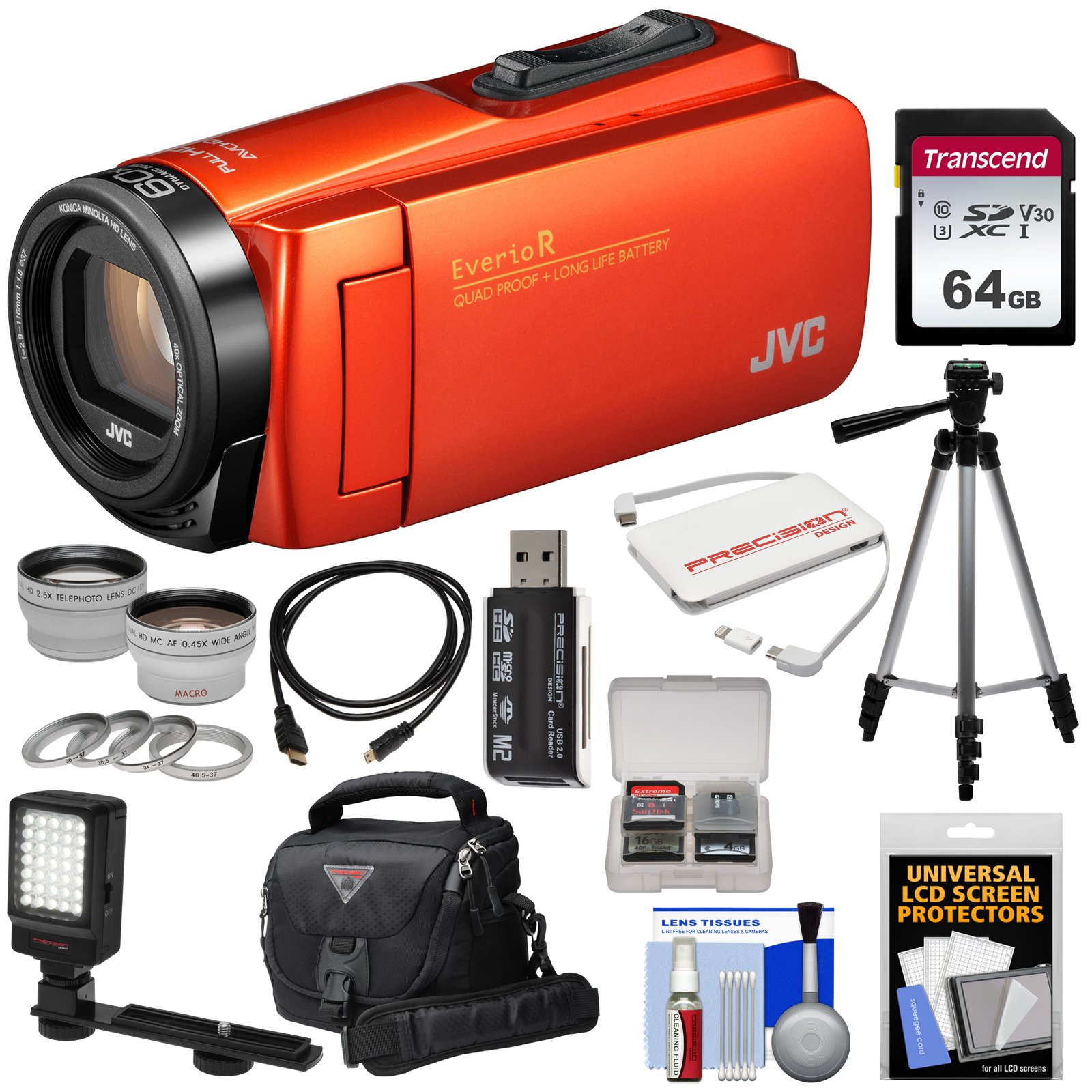 JVC Everio GZ-R460 Quad Proof 1080p HD Video Camera Camcorder (Orange) with 64GB Card + LED Light + Tripod + Case + Charger + 2 Lens Kit