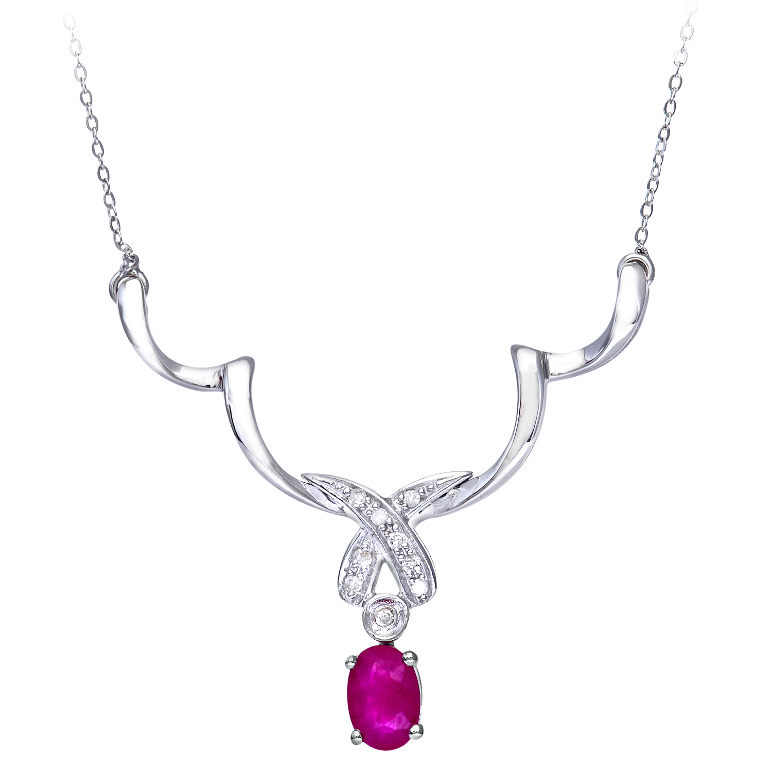 9ct White Gold Diamond and Ruby Ladies Necklace by Revoni