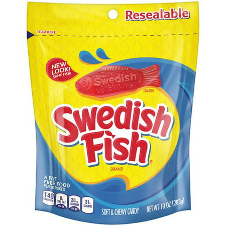 (4 Pack) Swedish Fish, Mini Fat Free Soft & Chewy Candy, 10 Oz