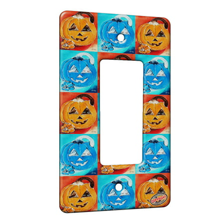 KuzmarK™ 1 Gang Rocker Wall Plate - Silly Siamese Stuck in a Pumpkin Halloween Cat Pattern Art by Denise Every - Halloween Pumpkin Patterns Cat