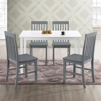Walker Edison Modern 5-Piece Dining Set - White / Grey