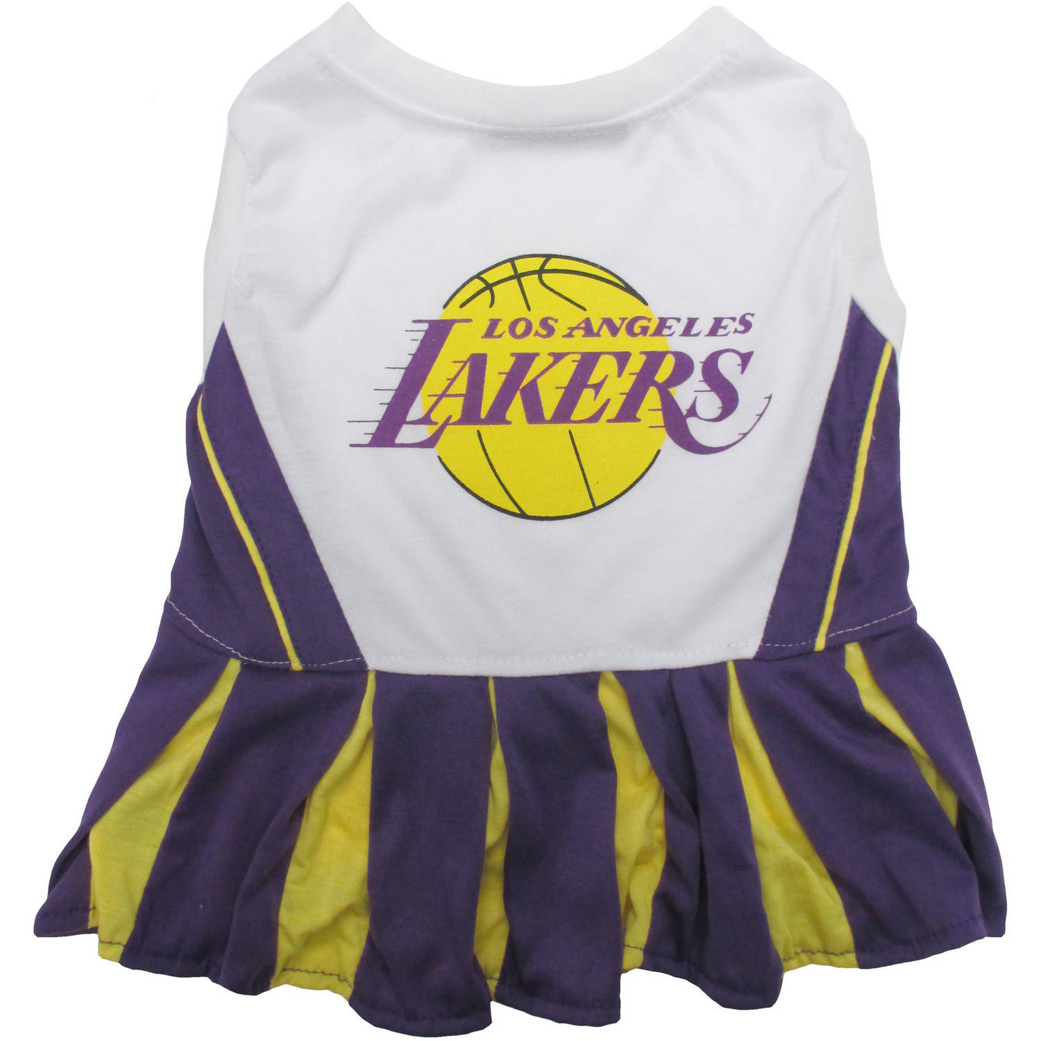 Pets First NBA Los Angeles Lakers Cheerleader, 3 Sizes Pet Dress Available. Licensed Dog Outfit