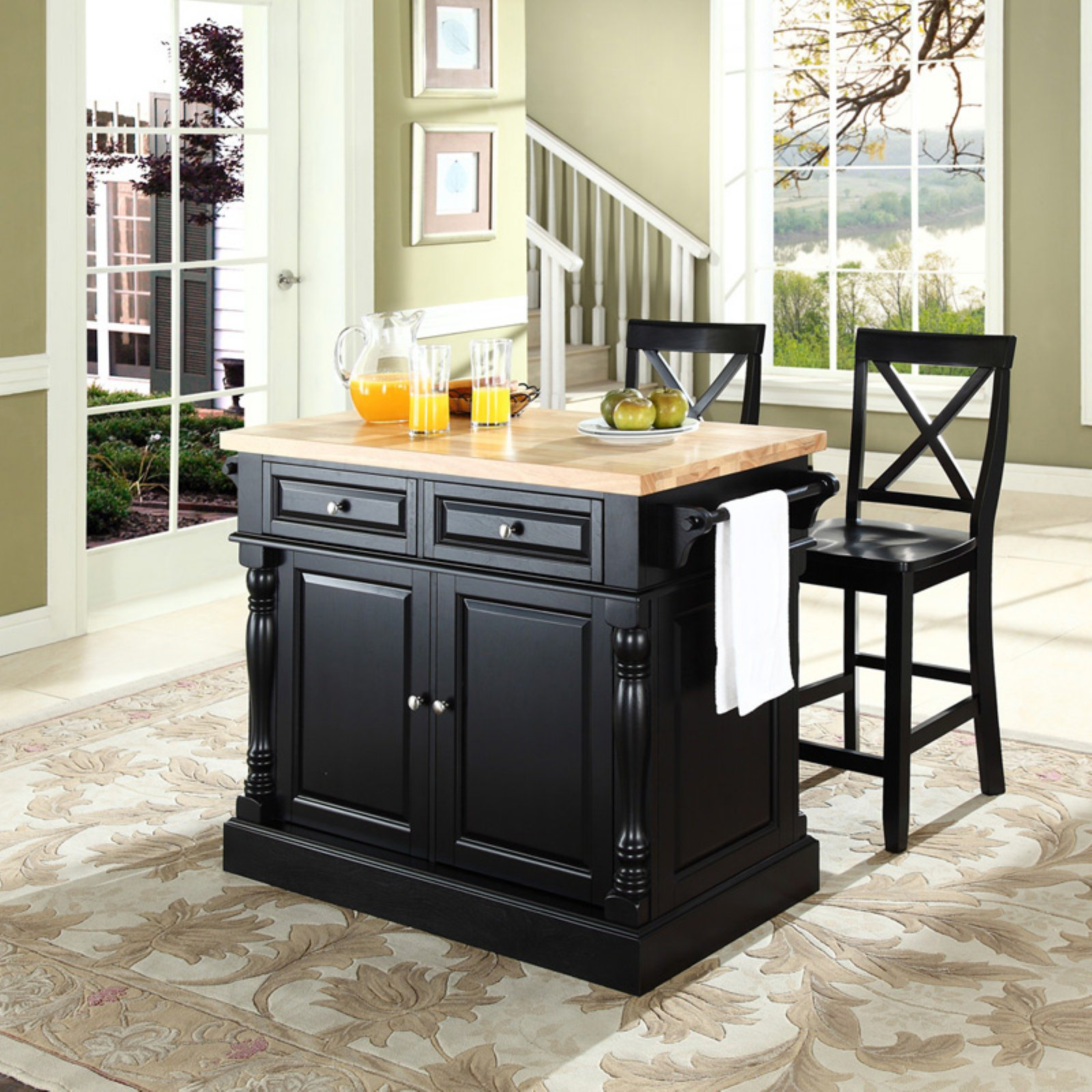 "Crosley Furniture Butcher Block Top Kitchen Island with 24"" X-Back Stools"