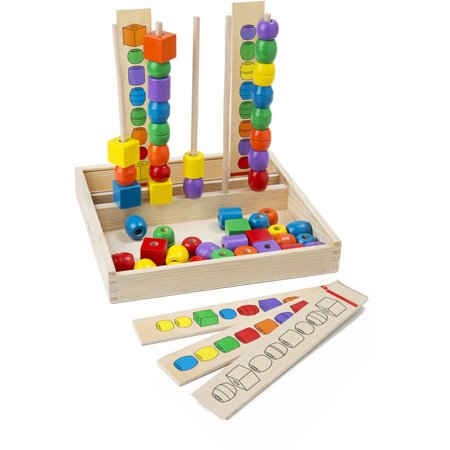 Melissa   Doug Bead Sequencing Set With 46 Wooden Beads And 5 Double Sided Pattern Boards