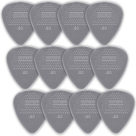 - Dunlop Nylon Standard Guitar Picks - 12-Pack - .60mm - Light Gray