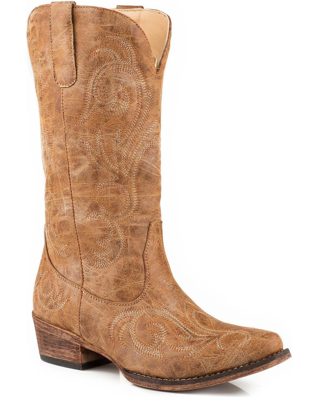roper women's riley western boot, tan, 6.5 d us