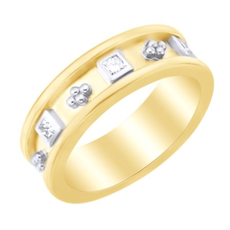(White Natural Diamond Etruscan Style Band Ring in 14k Yellow Gold (0.33 Ct)by Jewel Zone US)