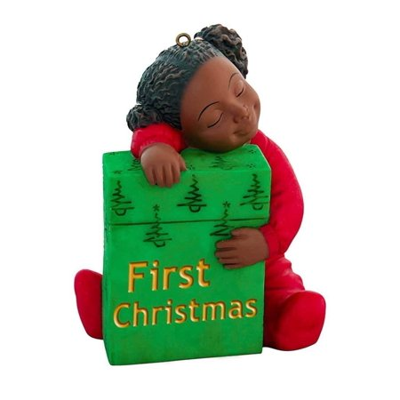 FIRST CHRISTMAS African American Girl Christmas Ornament, by United Treasures
