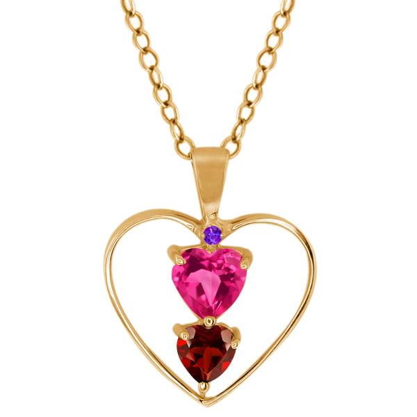 0.86 Ct Heart Shape Pink Mystic Topaz Red Garnet 14K Yellow Gold Pendant