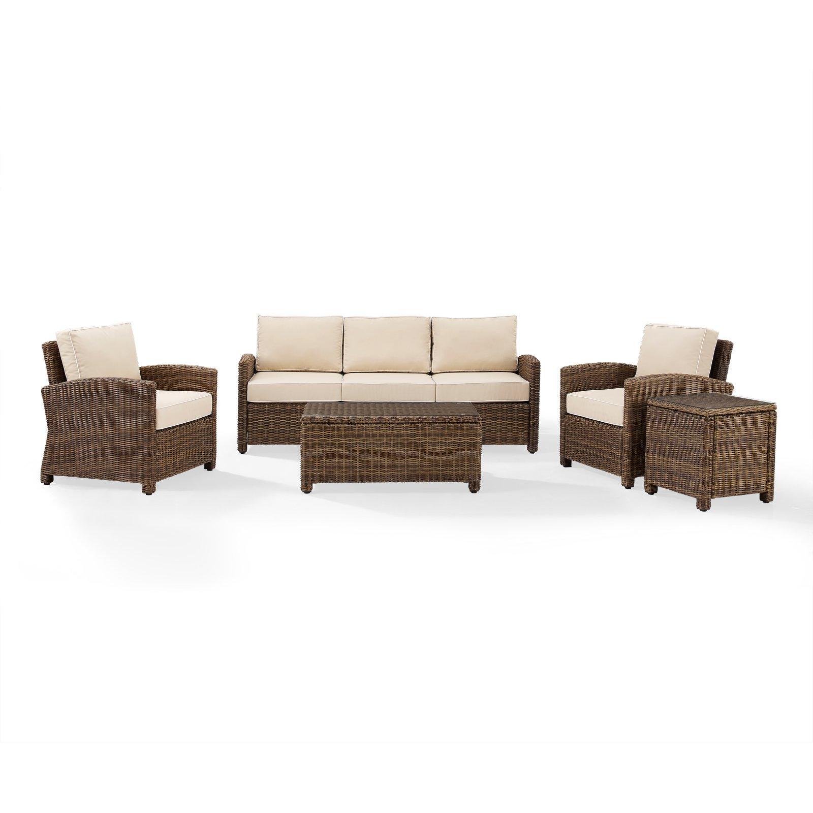 Crosley Furniture Bradenton 5-Piece Outdoor Wicker Sofa Conversation Set with Navy Cushions Sofa, Two... by Crosley Brands, Inc