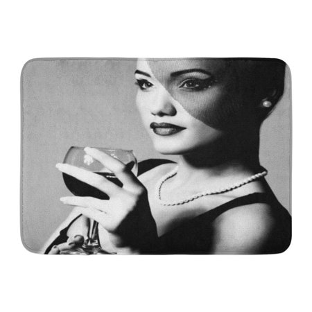 Young White Wine (GODPOK Vintage People Portrait of Beautiful Young Woman with Wine Glass Black and White Retro Stylization Girl Rug Doormat Bath Mat 23.6x15.7 inch )
