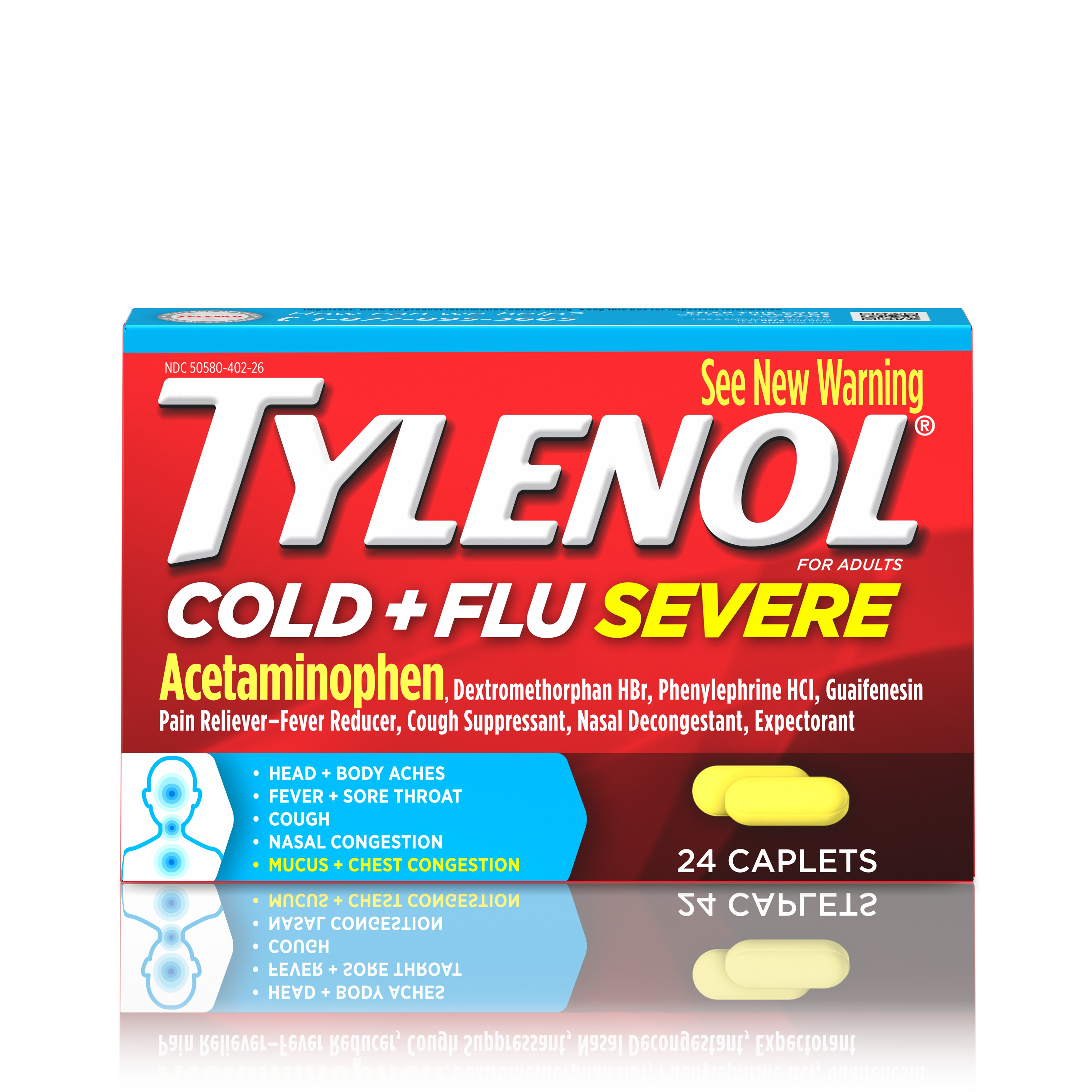 Tylenol Cold + Flu Severe Caplets, 24 Count