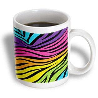 3dRose Modern Rainbow Zebra Stripes Animal Print Tween Girly Pattern, Ceramic Mug, - Rainbow Animal Print