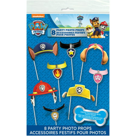 PAW Patrol Photo Booth Props, 8pc - Paw Patrol Decorations