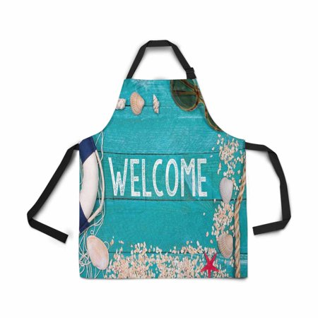 HATIART Adjustable Bib Apron for Women Men Girls Chef with Pockets Welcome Beach Summer Holiday Wooden Novelty Kitchen Apron for Cooking Baking Gardening Pet Grooming Cleaning - image 1 of 1