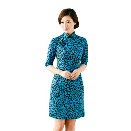 Satin Cheongsam Dress (Women Special 1/2 Long Sleeve Modern Mandarin Chinese Cheongsam Qipao Sheath Short Dress ( Teal/black petal ))