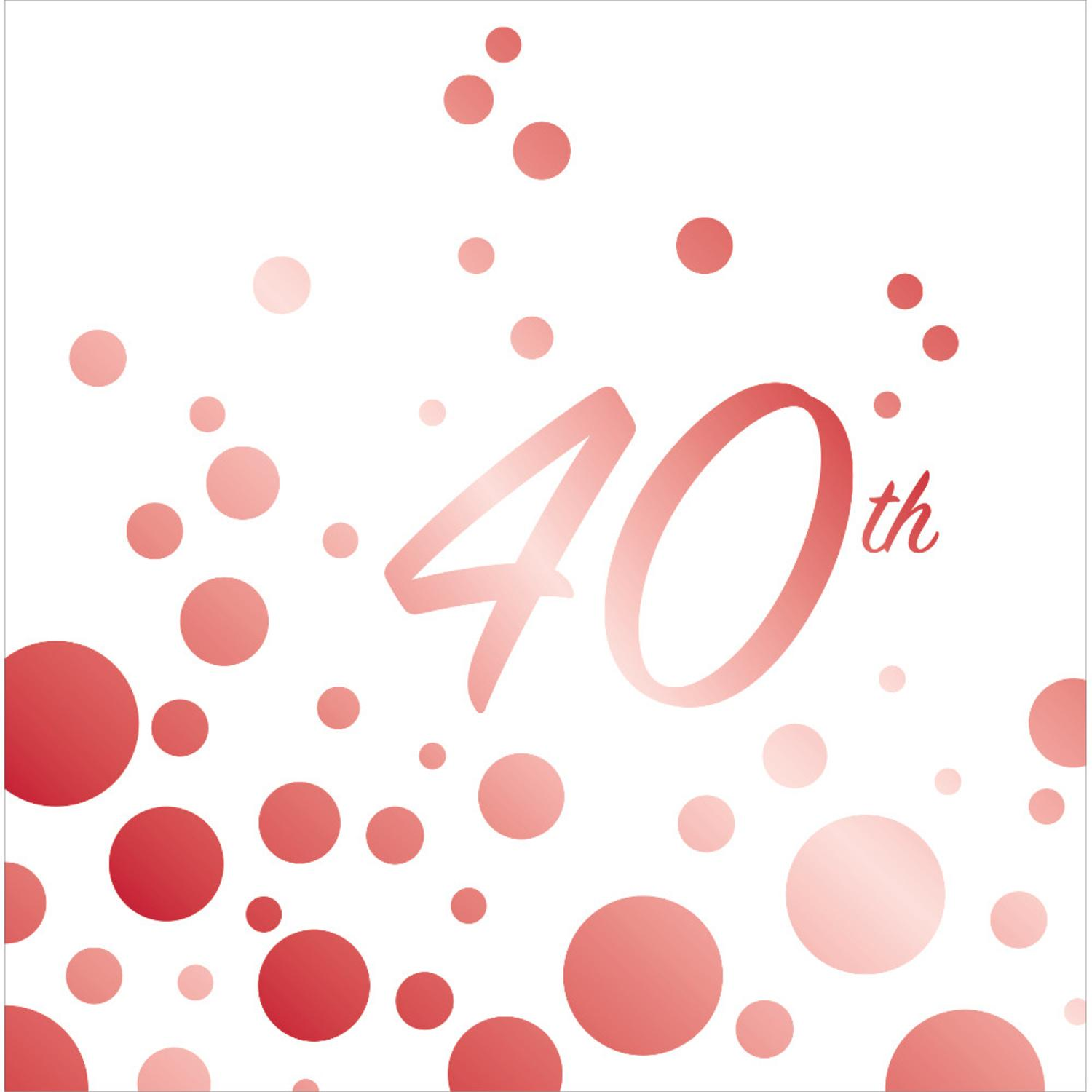 "Club Pack of 192 Sparkle and Shine Ruby ""40th"" Anniversary Paper Party Disposable 2-Ply Lunch Napkins 6.5"""