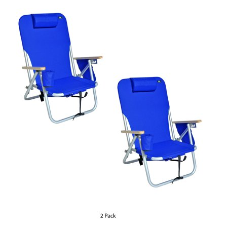 Lightweight Beach & Camping Aluminum Backpack Chair 4 Position - Set of 2 Chairs