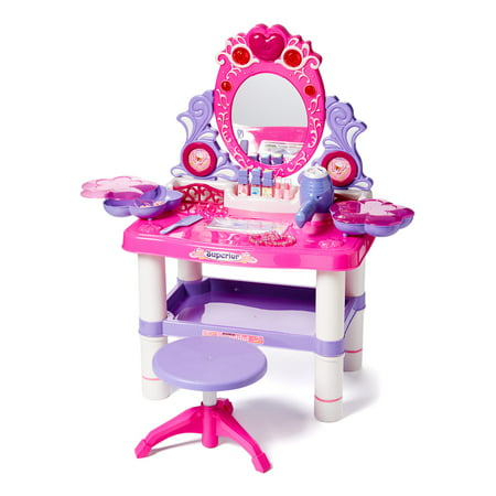 Princess Vanity Girl's Children's Pretend Play Dressing Table Battery Operated Toy Beauty Mirror Vanity Playset w/ Accessories (Kid Vanity Set)